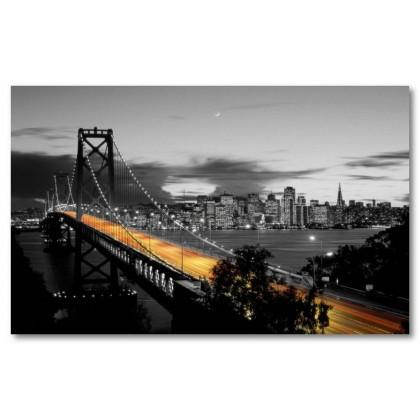 Αφίσα (San Francisco, γέφυρα, μαύρο, λευκό, άσπρο)